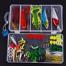 Artificial Fishing Lure Set Hard Soft Bait Minnow Spoon Two-layer Plastic PVC Metal Fishing Tackle Box Frog Lure Worm Baits