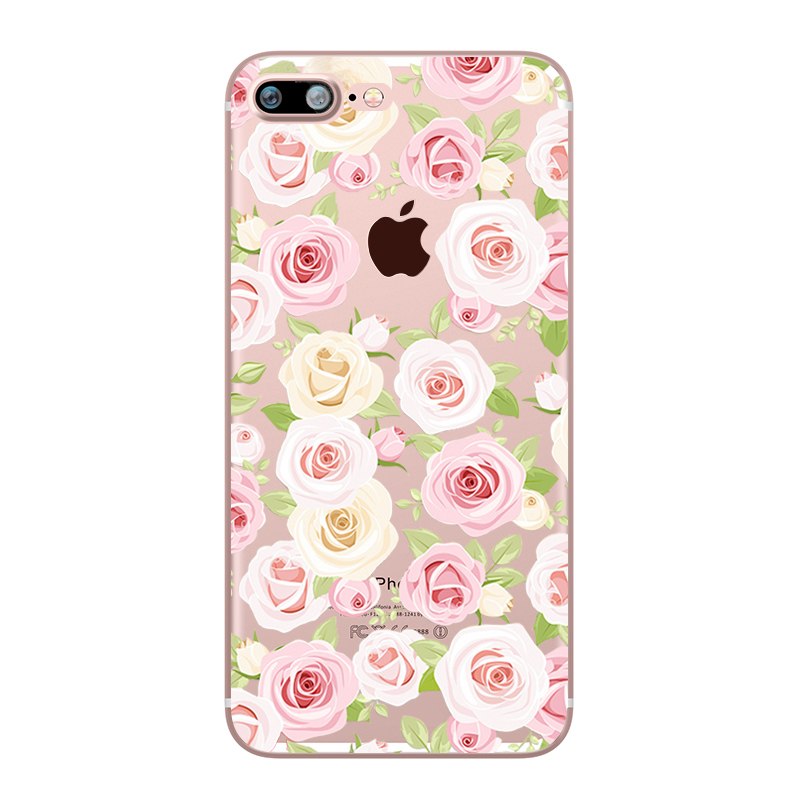 Flower Love Cherry Blossoms Rose Flowers for iphone 7 6 X 6S 8 PLUS SE 5S 7plus Silicon Clear TPU Transparent Capinha Case Funda (6)