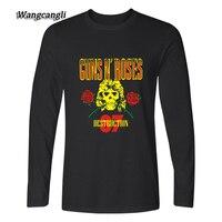 Newest GUNS N ROSE Shirt 2017 T Shirt Men Harajuku Long Sleeve T Shirt Men T
