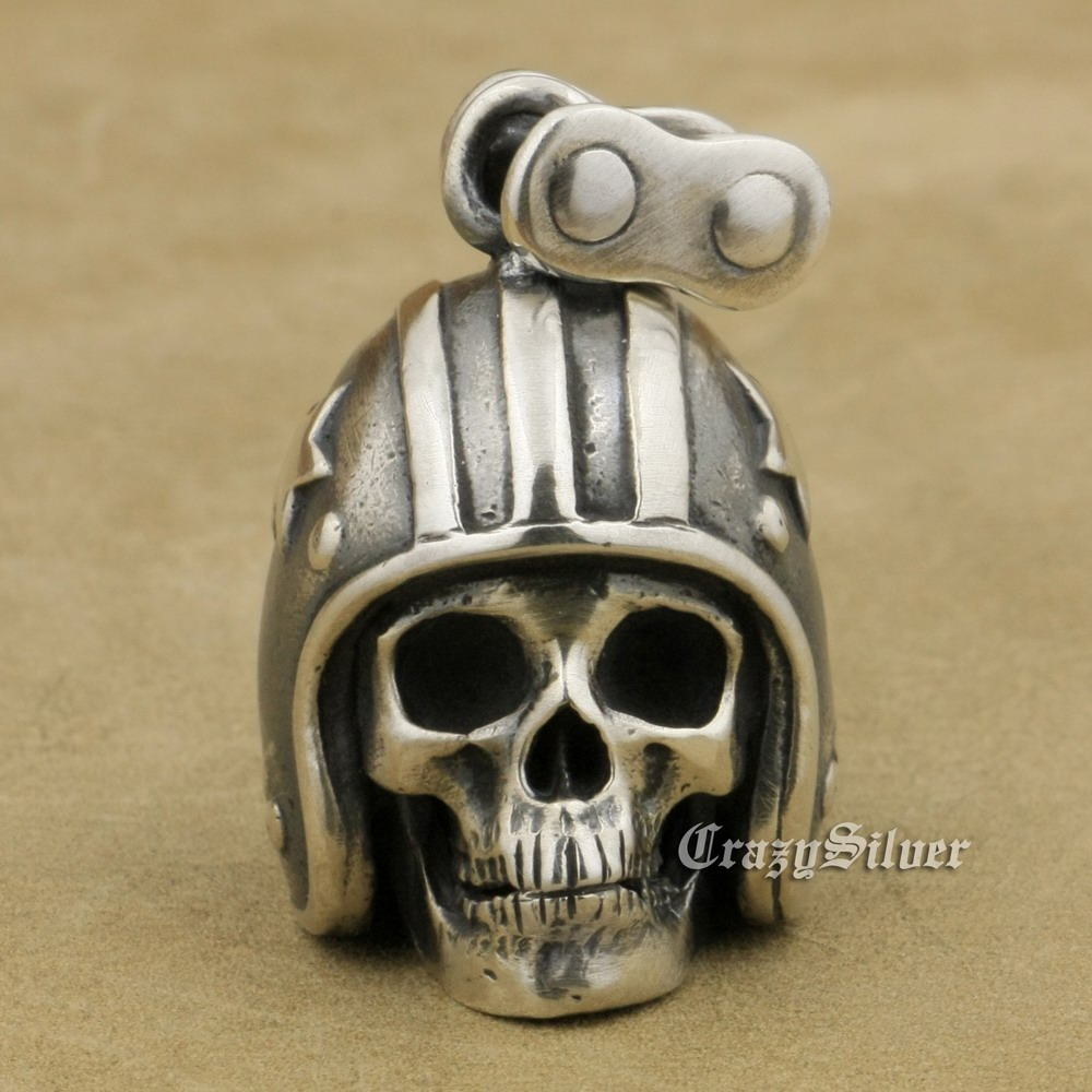 Motorcycle Helmet Skull 925 Sterling Silver Mens Biker Rock Punk Pendant TA19