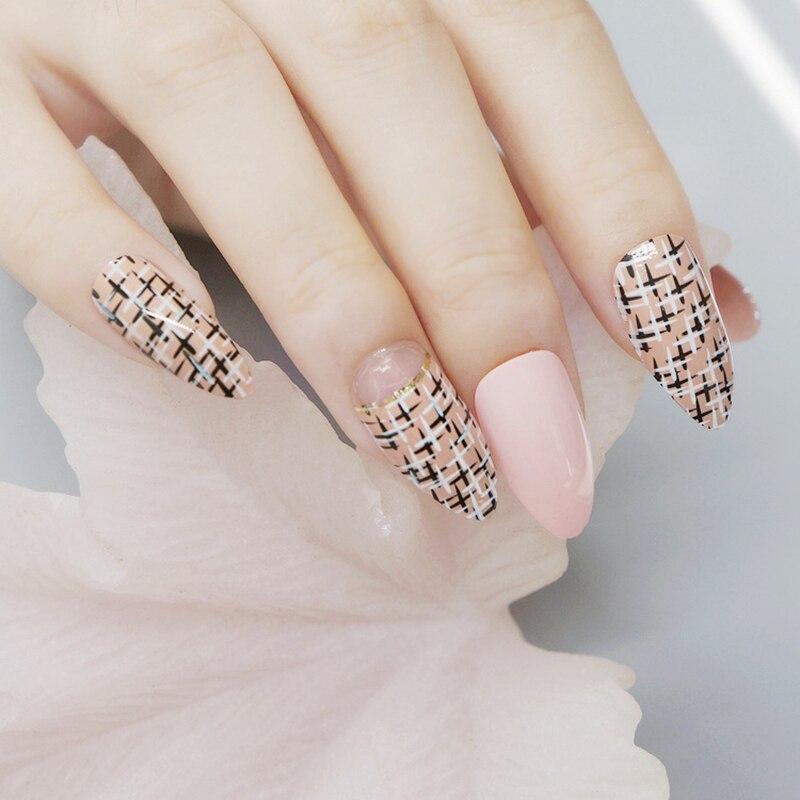 Shiny Stiletto Nails Natural Pink Acrylic Fake Nails Black Khaki ...