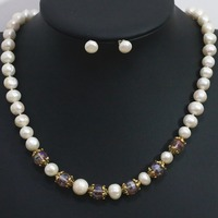 Elegant natural white 9 10mm freshwater round pearl necklace earrings set crystal spacer beads women jewelry 20inch B1424