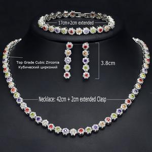 Image 5 - CWWZircons 3 個 Cz グリーンクリスタルブレスレットのネックレスとイヤリングセット高級女性ウェディングアクセサリー花嫁ジュエリーセット T030