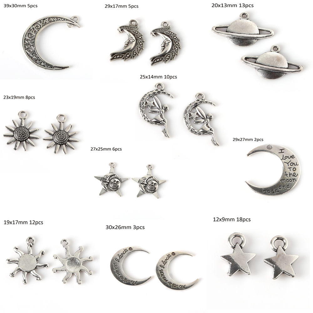 Vintage Metal Star Earth Moon Charms Fashion Retro Pendant for DIY Charms Choker Necklace Jewelry Making Handmade Bracelet Craft jewelry making