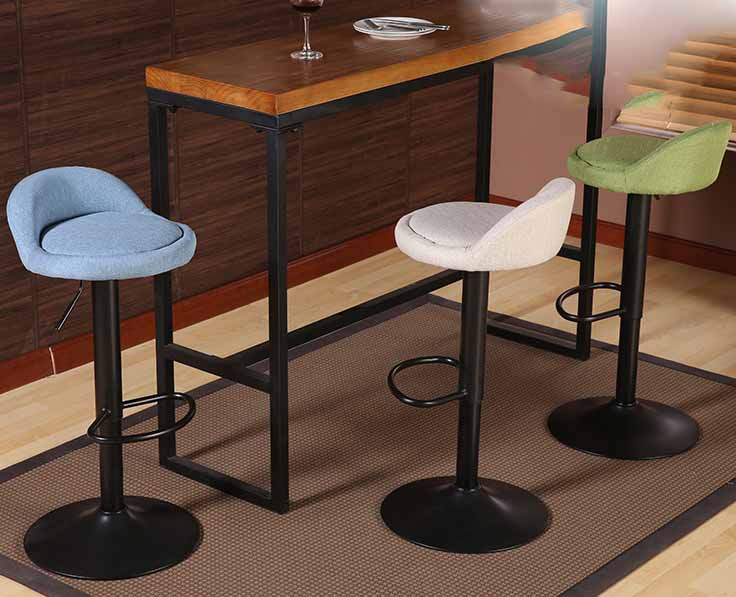 Adjustable Height 360 degrees Rotation Bar Stool Chair Vintage Rotating bar chair linen/pu leather Bar Furniture vintage metal bar chair bar chair lift 100% wooden bar chair the pulley of the bar chair wood stool metal furniture
