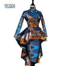 Afrikanske Bazin Riche Tuxedo Topper og skjørt Sett for Kvinner Fest Vestidos Afrikanske Stativ Hals Knap 2 Stykke Sett Klær WY2595