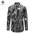 2016 Hombres Floral Camisas de Vestido de Boda Del Novio Camisa Masculina de Los Hombres de Moda Casual Slim Fit Manga Larga de Gran Tamaño Del Partido camisas