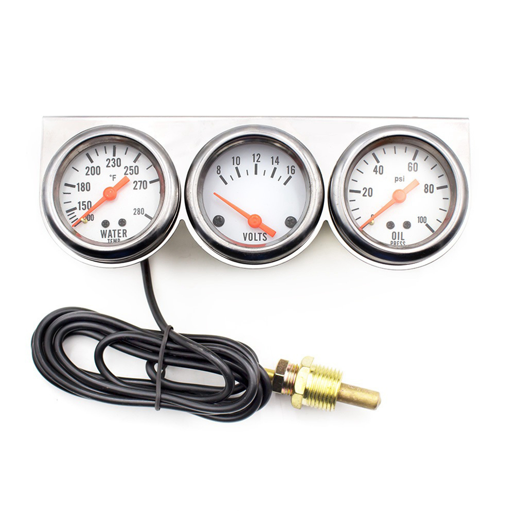 3 in 1 Universal Auto Water Temperature Voltage Oil Pressure Gauge Digital Pointer Sensor Display 2''/52mm Diameter Meter Car 8 in 1 1 2 digital display tire pressure gauge black 3 x aaa battery