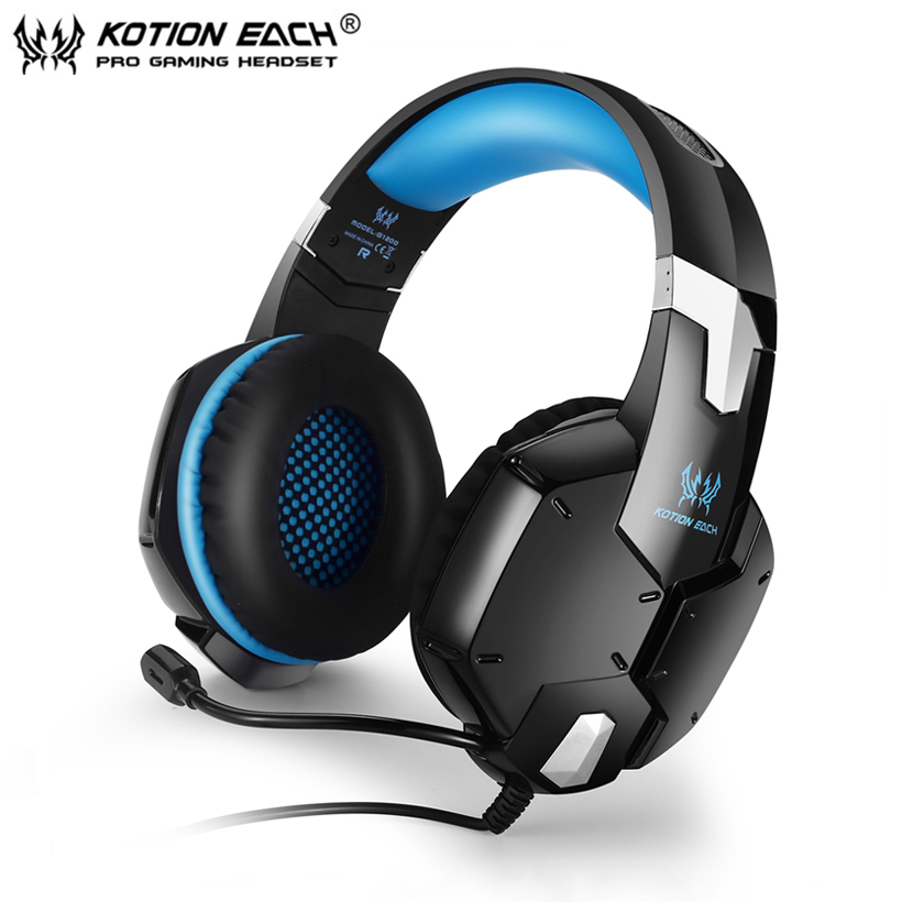 KOTION EACH G1200 Gaming Headphones with Microphone 3.5mm Plug Stereo Headset for PC Laptop Cell Phone Fones De Ouvido kotion each g2000 gaming headset pc gamer headphones headphone for computer auriculares fone de ouvido with microphone led light