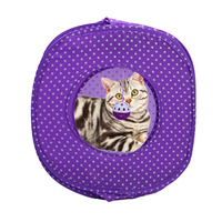 Polyester Design Foldable Portable Pet Cat Tent With Bell Outdoor Travel Cats Toy Pet Kitty House
