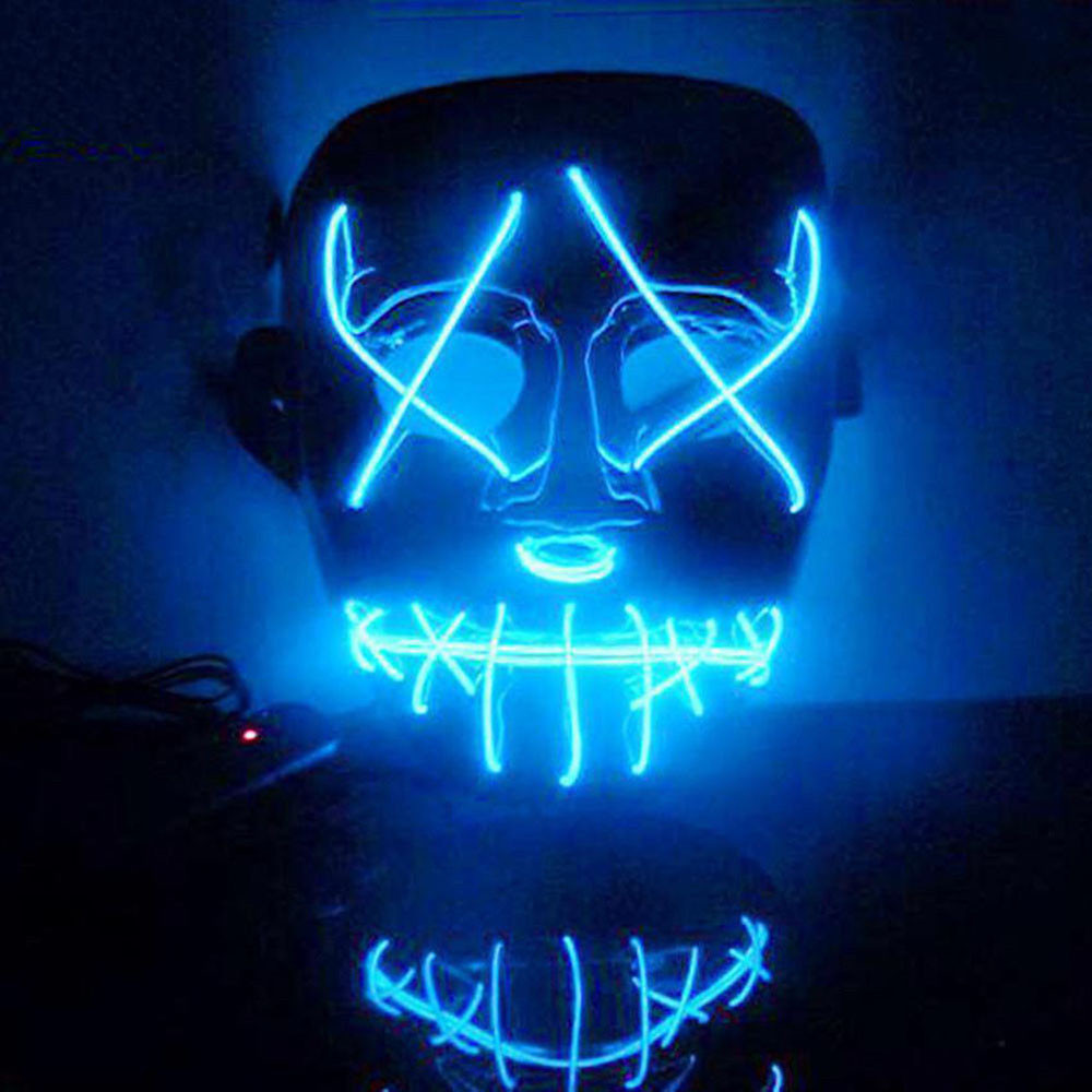 EL Wire Mask Light Up Neon Skull LED Mask For Halloween Party And Concert  Scary Party