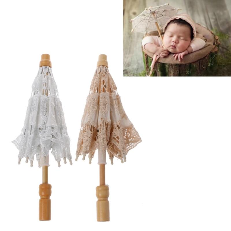 все цены на Newborn Baby Photography Props Lace Umbrella Infant Studio Shooting Photo Prop онлайн