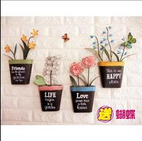 Europe type restoring ancient ways, wrought iron creative wall act the role ofing, three dimensional flower basket vase wall d