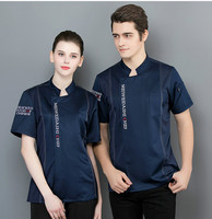 Summer Short sleeved Chef Service Jacket Chef's Work Clothes Women Men Cook Uniform Hotel Restaurant Kitchen Cook Overalls