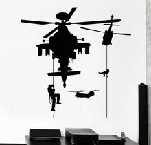Calcomanía de vinilo para pared helicóptero soldado militar Guerra pegatinas Mural 2FJ45