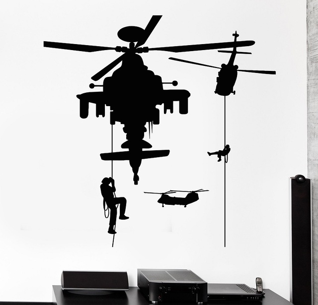Vinyl Wall Decal Soldiery Helicopter Military War Stickers Mural  2FJ45