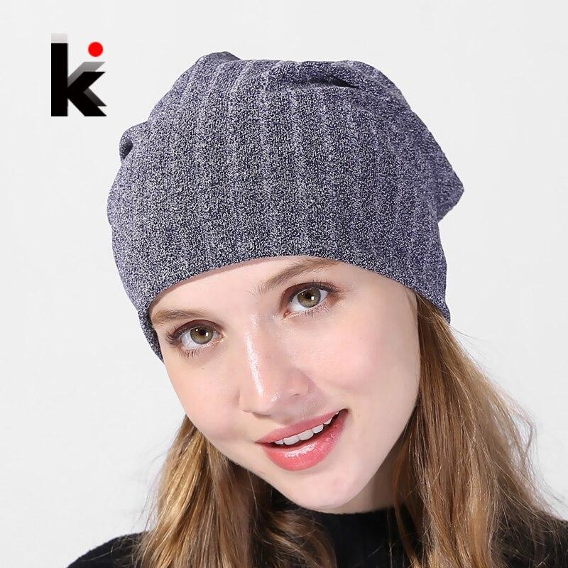 Spring And Autumn Bonnet Beanies Women Cotton Solid Stripe Hats For Ladies Soft Comfortable Beanie CapS Female Fashion Skullies female caps for autumn