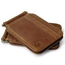 Thin Billfold Vintage Wallet Men font b Money b font font b Clips b font Genuine
