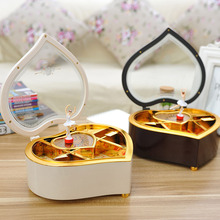Vintage Retro Music Box Heart Shaped Cosmetic Box Rotating Ballet Girl Jewelry Music Box Storage Holiday Gifts