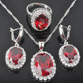 Classic Oval Red Stone Zirconia Women's 925 Sterling Silver Jewelry Sets Earrings/Pendant/Necklace/Rings Free Shipping QZ038