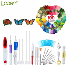 Looen Magic Embroidery Pen Punch Needle Set Patterns Kit Craft Tool 100pcs Threads For DIY Sewing Tools