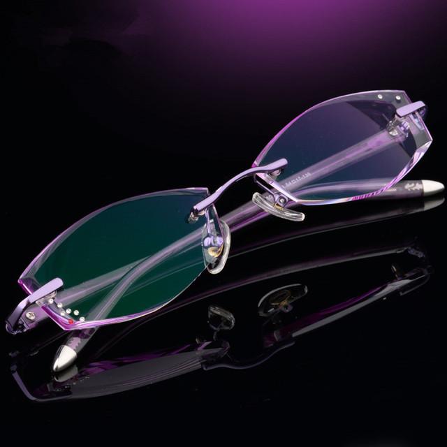 Adequado para alta miopia, óculos sem aro de corte de diamante,-jogo cravejado de diamantes modelos femininos moda óculos, placas quadros 128