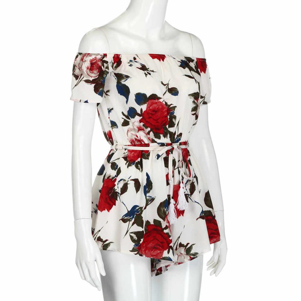 女性 2019 レッドローズ夏の女性のエレガントな白傾斜禁止ネックドレス弓ベルトビーチラブリーガールミニドレス jurk