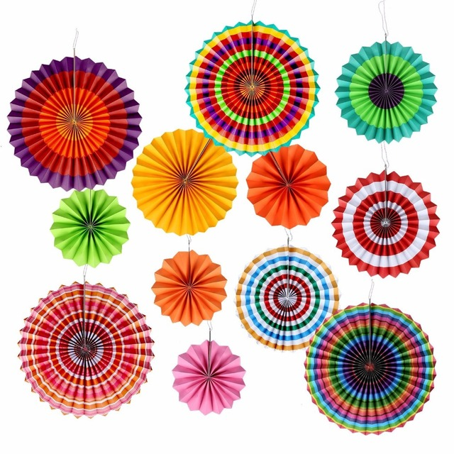 Party Paper Fans Decoration Colored Tissue Paper Flower Fans For