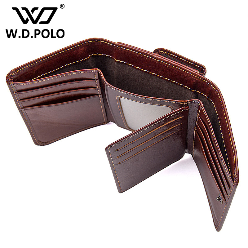 WDPOLO genuine leather wallets men real leather purse with coin pocket trifold wallet male clutch purse many card holder bagG120 mens wallets black cowhide real genuine leather wallet bifold clutch coin short purse pouch id card dollar holder for gift
