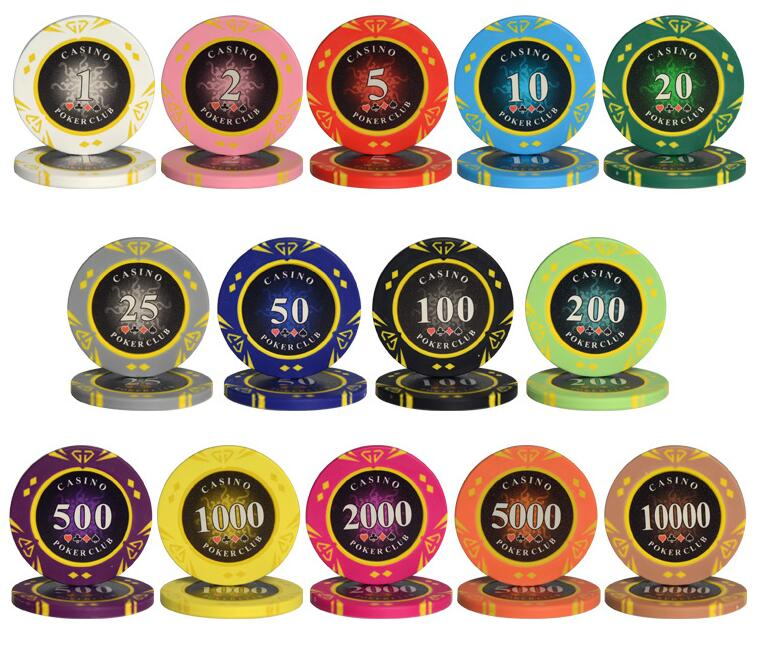10PCS/LOT Diamond Coins Clay Texas Poker Chip Sets Casino Chips Entertainment Accessories Poker Card Guard