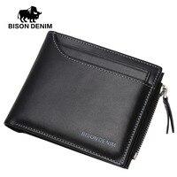 BISON DENIM Mens Genuine Leather Wallet Cowhide Coin Purse Billfold With Driver S License Case