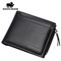 BISON DENIM Mens Genuine Leather Wallet Cowhide Coin Purse Billfold With Driver S License Case