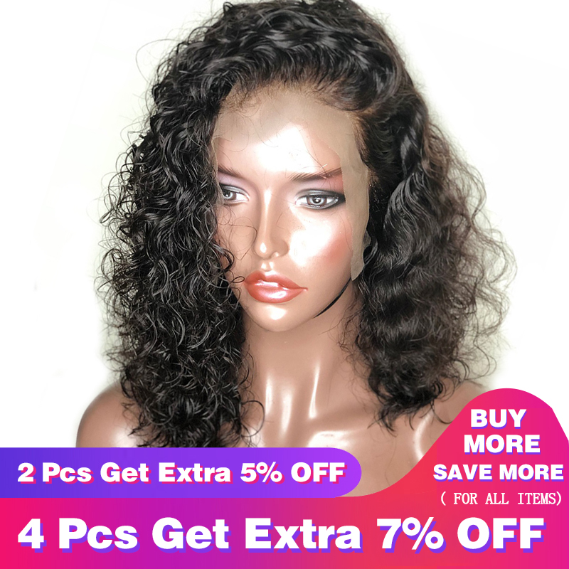 Deep Wave 360 ​​Lace Frontal Parykk Pre Plucked With Baby Hair Lace Front Menneskehår Parykker For Kvinner 180% Tetthet Svart Remy Parykker CARA