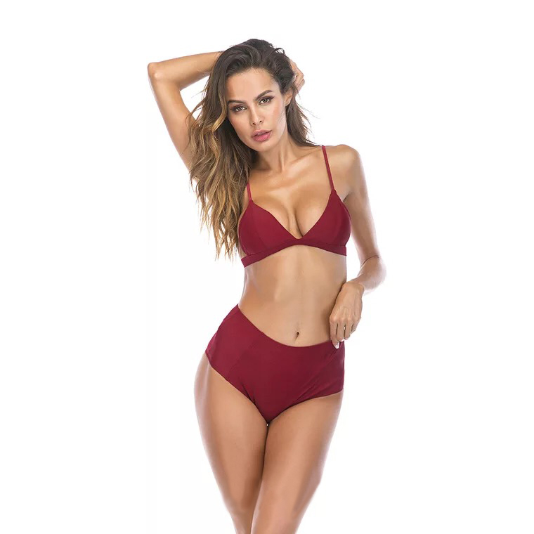 2018 Solid Tow Pieces High Waist Bikini Wine Red Suitable For Brown Color Backless Sexy Shoulder Straps