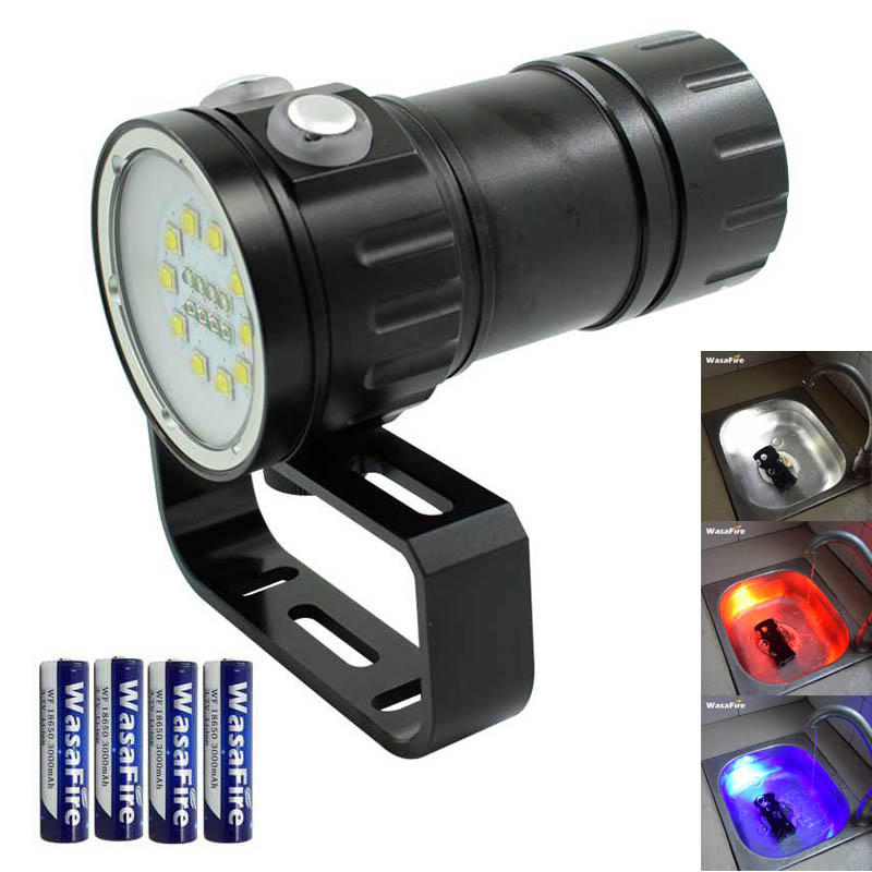 10*XM L2 White 4*Red 4*Blue LED Diving Flashlight Photography Fill Light Underwater Dive Torch Video Photo Lamp 18650 Battery
