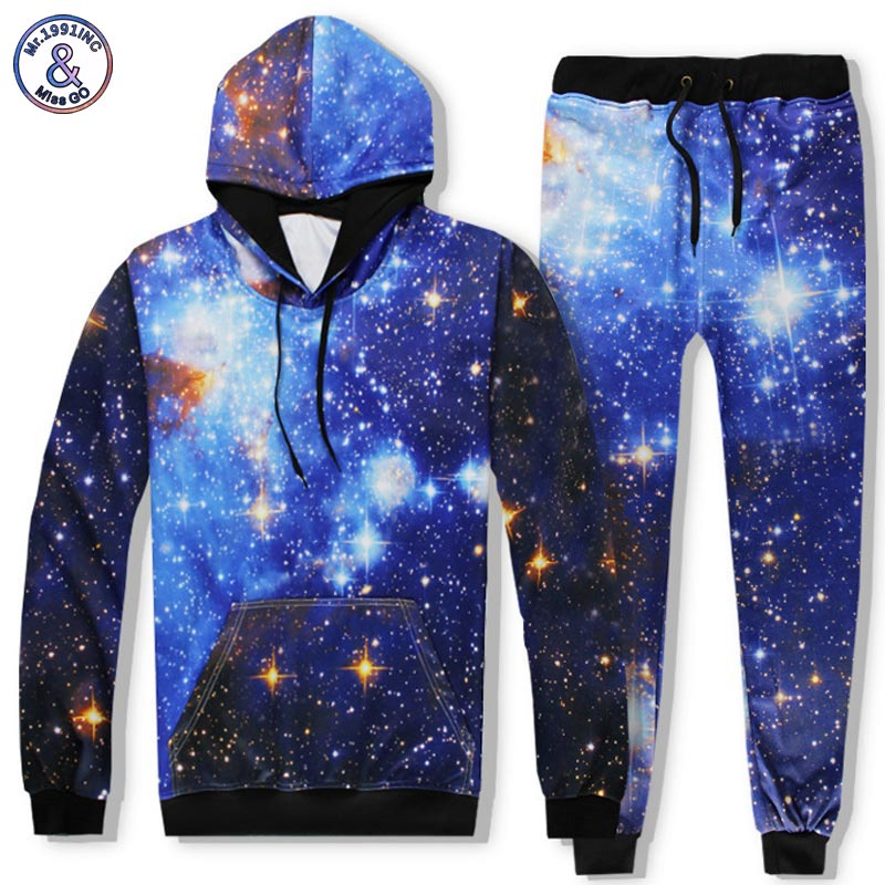 Mr.1991INC Space Galaxy Hoodies Sets Men/Women 3d Sweatshirts Pant Print Stars Sky Fashion Hooded Hoodies