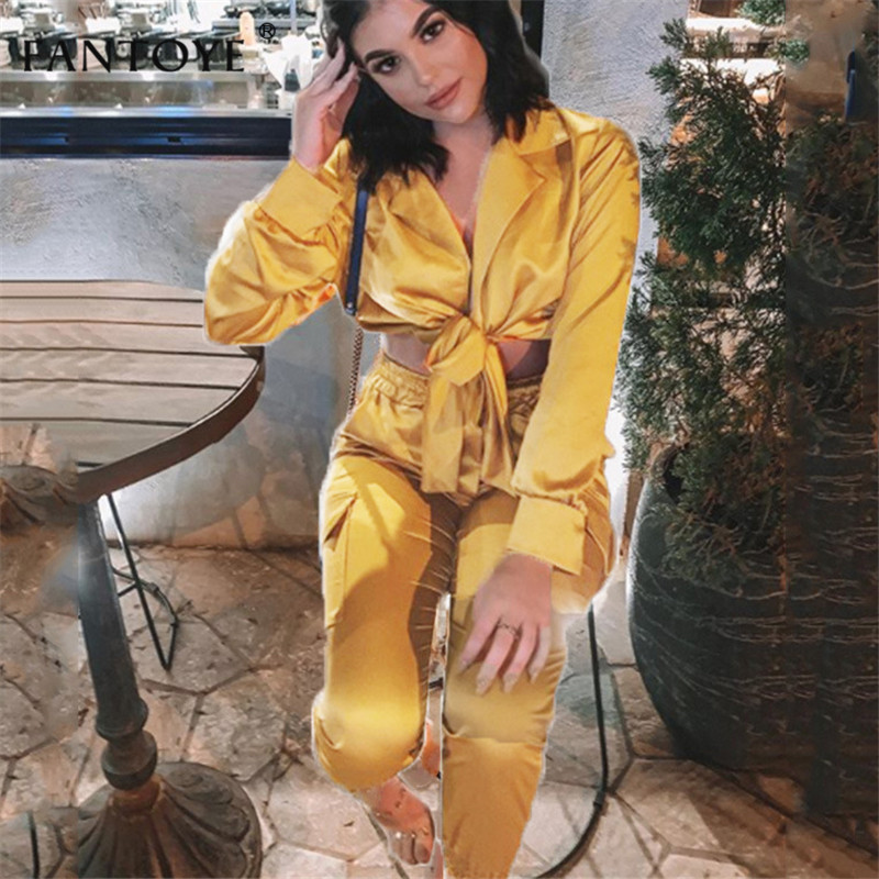 Fantoye Satin Silk Sexy Two Piece Set Jumpsuit Women Bow Sashes V-Neck Crop Top Bodycon Bandage Jumpsuit Suits Causal Tracksuits