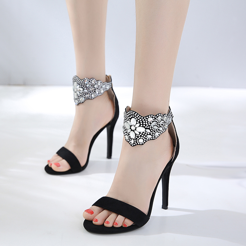 Black heels summer rhinestone ladies sandals women gladiator sandals sexy party shoes for women wedding shoes bride