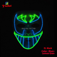 New design EL wire Trendy Carnival terror glowing Mask,Night bat face Mask LED Neon Glowing Party Halloween Supplies+3V Driver