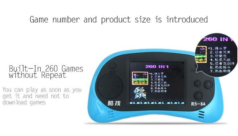 US $16 8 58% OFF Newest Upgrade handheld game console prepload 260  different free mini games 8/16 bit classic games nes best gift for kids  boy-in