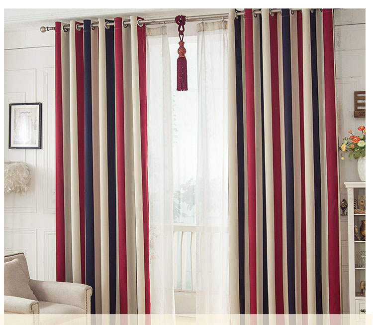 [Byetee] mediterrâneo vermelho-azul listra vertical cortina para