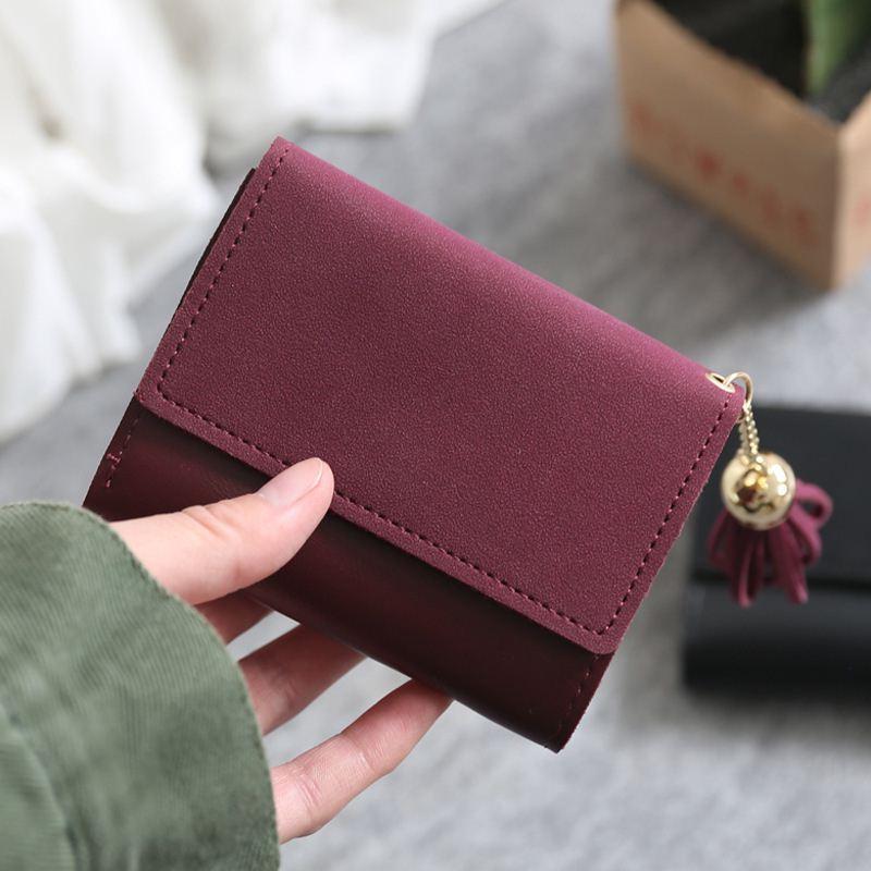 2018 mini women wallet organizer wallet travel Casual Clutch Tassel matte portefeuille femme cuir Slim carteira feminina wallets 5