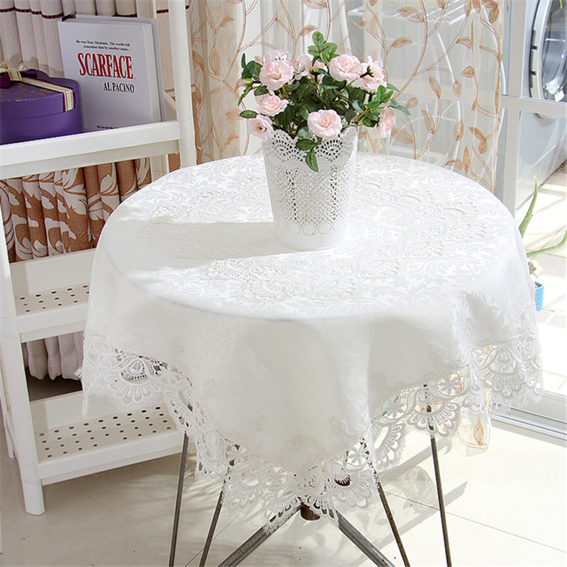 Lanweini Europe Wedding Tablecloth Embroidered Floral White Round Tea Table  Cloth For Table Cover Lace Rectangle Table Decor