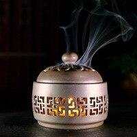 Night Light Battery Lamp Ceramic Incense Burners For Stick Creative Line sandalwood Incense burner room aromatherapy stove