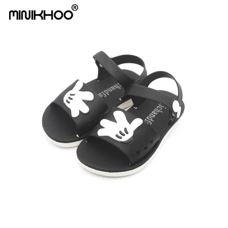 Mini Melissa New Mickey Minnie Children Soft Shoes Super Cute Girls Jelly Sandals Princess Shoes Kids Anti Skid Beach Sandals