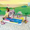 Cogo niñas educativos bloques de construcción de juguetes para los niños regalos mini natación playa romántica compatible con legoe