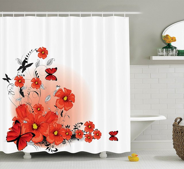 WARM TOUR Floral Flash Background Fashion Shower Curtain Polyester Hotel Bathroom With Hooks Ring72X72Inch