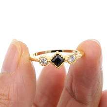 High Quality gold filled white black cubic zirconia simple three stone design delicate minimalist young girl lady golden ring