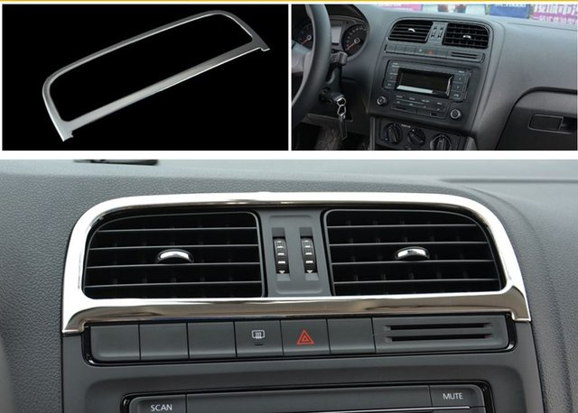 VW 2011 16 New Polo Special Modified Air Conditioning Outlet Stainless Steel Sequins Interior Decoration Bright Bar