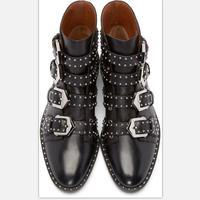 Женские ботинки martin кожа 100% Для женщин ботильоны с кнопками шипованных Западной Винтаж мотоциклетные женские ботинки Подиум леди обувь